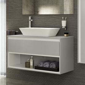 Ideal Standard Connect Air Waschtischunterschrank mit 1 Auszug und 1 offenen Fach hellgrau glänzend/weiß matt
