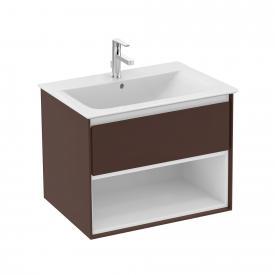 Ideal Standard Connect Air Waschtischunterschrank mit 1 Auszug und 1 offenen Fach braun matt/weiß matt