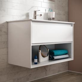 Ideal Standard Connect Air Waschtischunterschrank mit 1 Auszug und 1 offenen Fach weiß glänzend/weiß matt