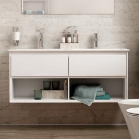 Ideal Standard Connect Air Waschtischunterschrank für Doppelwaschtisch mit 2 Auszügen und 2 offenen Fächern Front weiß glanz / Korpus weiß glanz/weiß matt