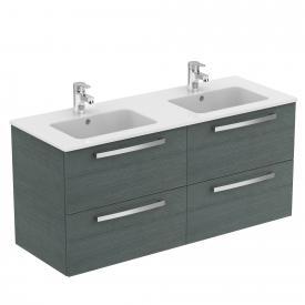 Ideal Standard Eurovit Plus Waschtisch mit Waschtischunterschrank mit 4 Auszügen Front eiche anthrazit dekor/Korpus eiche anthrazit dekor