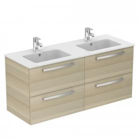 Ideal Standard Eurovit Plus Waschtisch mit Waschtischunterschrank mit 4 Auszügen Front eiche hell dekor/Korpus eiche hell dekor