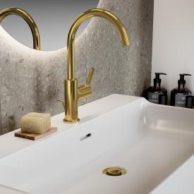 Ideal Standard Joy Waschtischarmatur mit schwenkbarem Auslauf brushed gold, mit Ablaufgarnitur