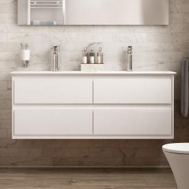 Ideal Standard Strada II Doppelwaschtisch mit Connect Air Waschtischunterschrank mit 4 Auszügen weiß, mit 2 Hahnlöchern