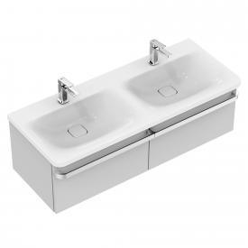 Ideal Standard Tonic II Waschtischunterschrank für Doppelwaschtisch mit 2 Auszügen Front hellgrau hochglanz/ Korpus hellgrau hochglanz