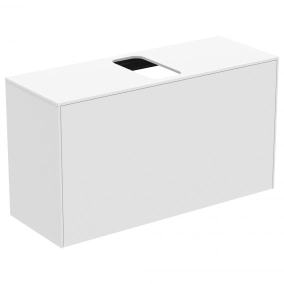 Ideal Standard Conca Waschtischunterschrank mit 1 Auszug und 1 Ausschnitt Front weiß matt / Korpus weiß matt