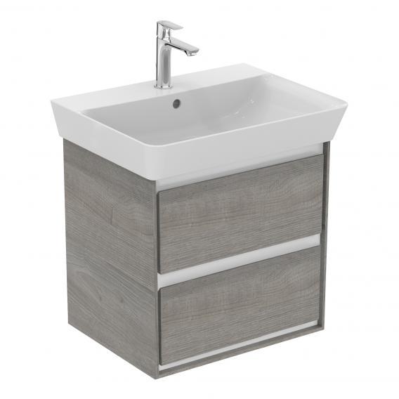 Ideal Standard Connect Air Waschtischunterschrank mit 2 Auszügen Front eiche grau dekor / Korpus weiß matt/eiche grau dekor