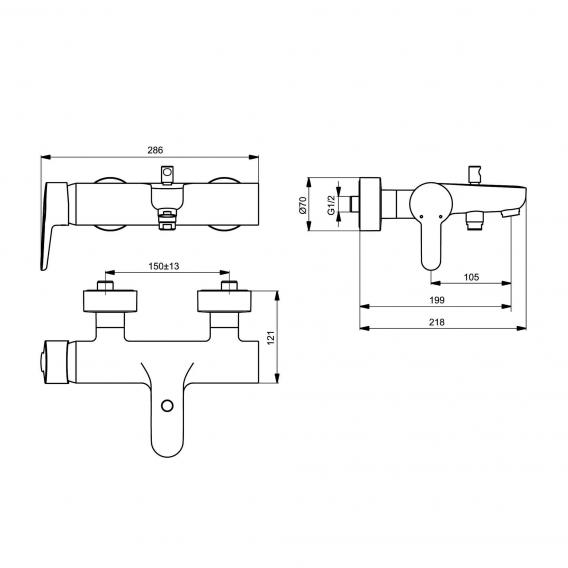 Ideal Standard Connect Blue Einhebel-Badearmatur für Aufputz
