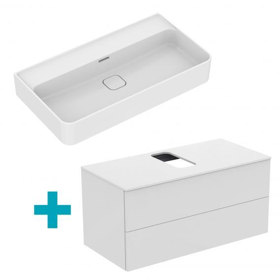 Ideal Standard Strada II Waschtisch mit Adapto Waschtischunterschrank mit 2 Auszügen weiß, ohne Hahnloch