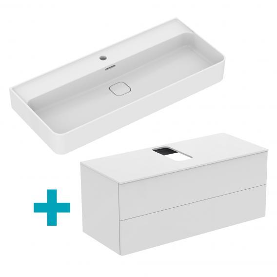Ideal Standard Strada II Waschtisch mit Adapto Waschtischunterschrank mit 2 Auszügen weiß, mit 1 Hahnloch