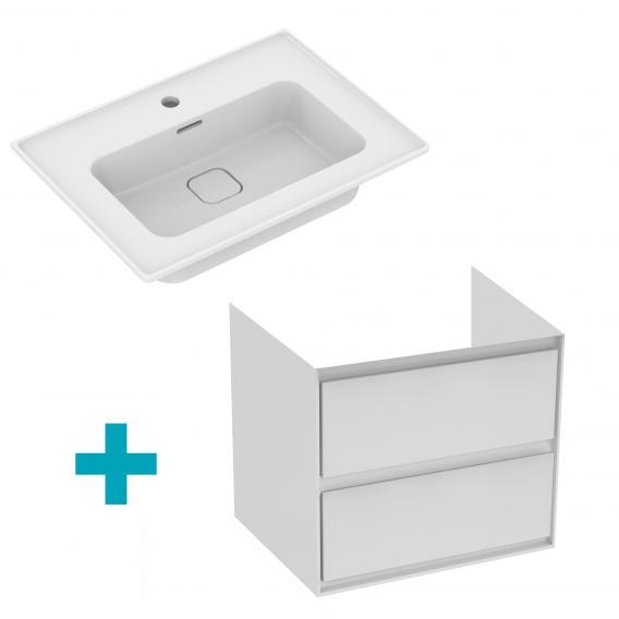 Ideal Standard Strada II Waschtisch mit Connect Air Waschtischunterschrank mit 2 Auszügen weiß, mit 1 Hahnloch