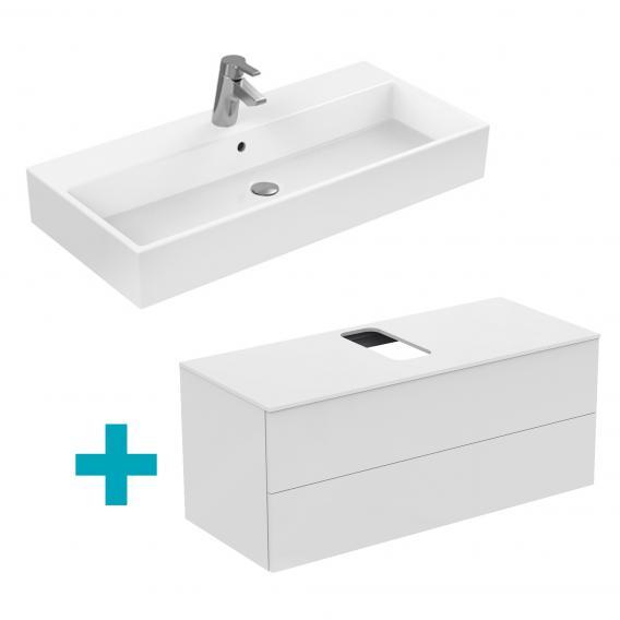 Ideal Standard Strada Waschtisch mit Adapto Waschtischunterschrank mit 2 Auszügen weiß, mit Ideal Plus, mit 1 Hahnloch