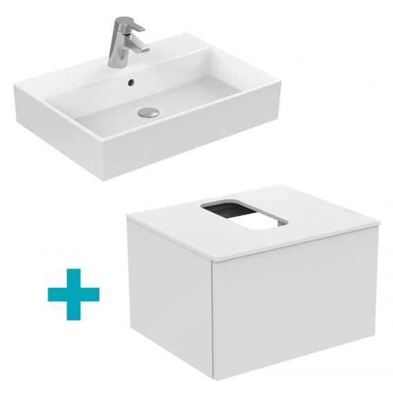 Ideal Standard Strada Waschtisch mit Adapto Waschtischunterschrank mit 1 Auszug weiß, 1 Hahnloch