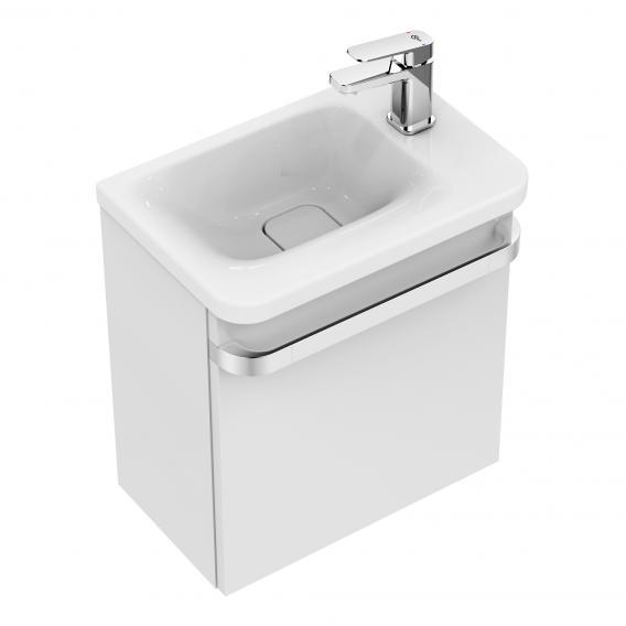 Ideal Standard Tonic II Handwaschbecken mit Waschtischunterschrank mit 1 Tür weiß, mit verdecktem Überlauf