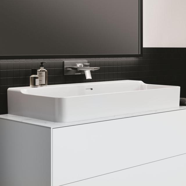 Ideal Standard Conca Waschtisch weiß, mit Ideal Plus, mit 1 Hahnloch, ungeschliffen, mit Überlauf