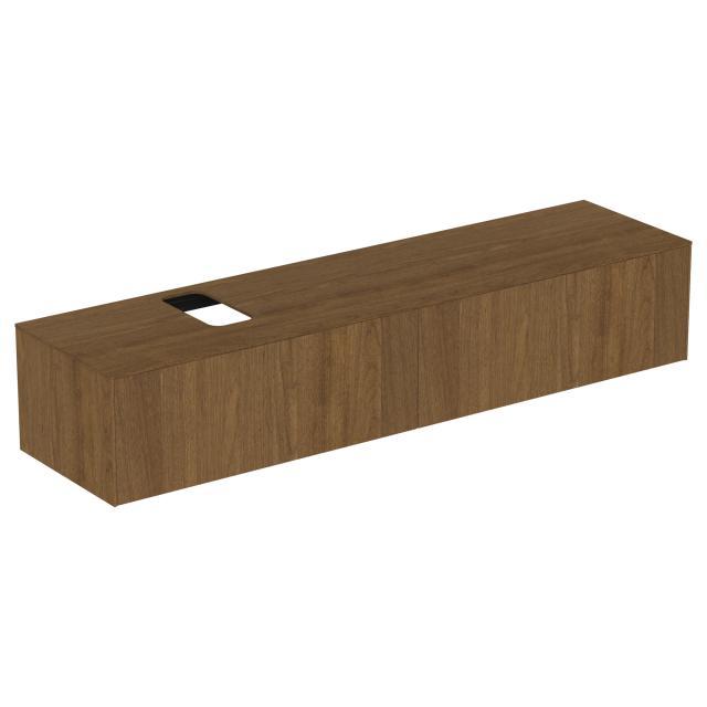 Ideal Standard Conca Waschtischunterschrank mit 2 Auszügen und 1 Ausschnitt Front walnuss dunkel / Korpus walnuss dunkel