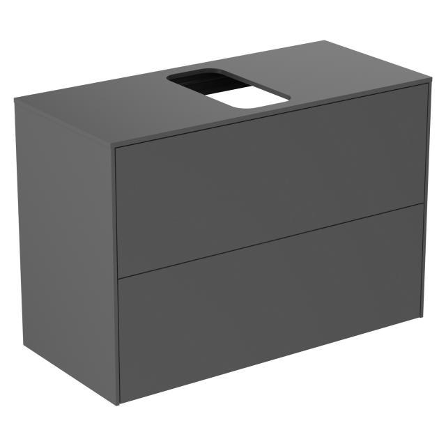 Ideal Standard Conca Waschtischunterschrank mit 2 Auszügen und 1 Ausschnitt Front anthrazit matt / Korpus anthrazit matt