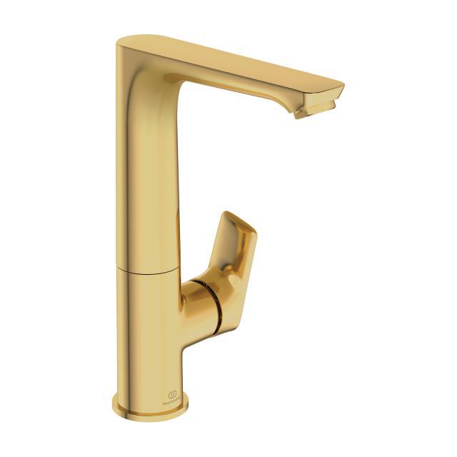 Ideal Standard Connect Air Einhebel-Waschtischarmatur mit hohem Schwenkauslauf brushed gold, ohne Ablaufgarnitur