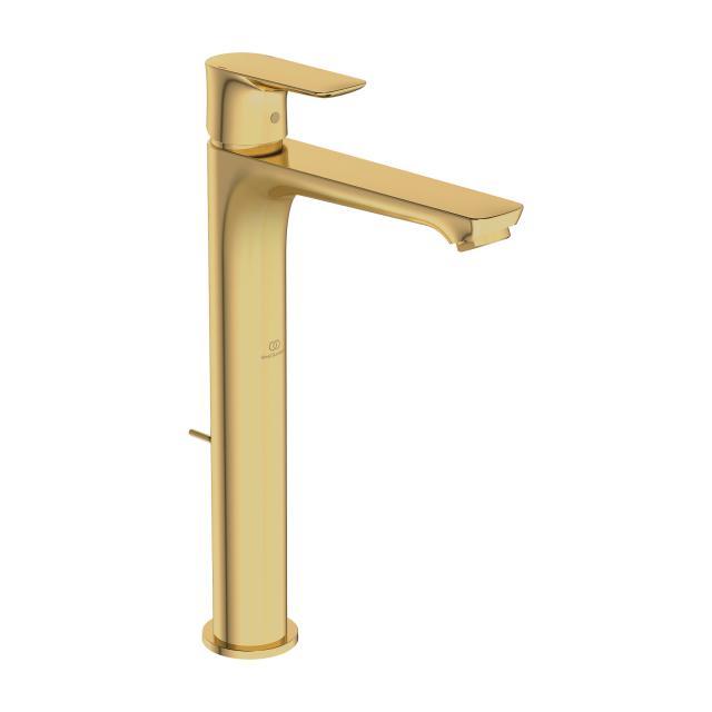 Ideal Standard Connect Air Einhebel-Waschtischarmatur mit verlängertem Sockel brushed gold, mit Ablaufgarnitur