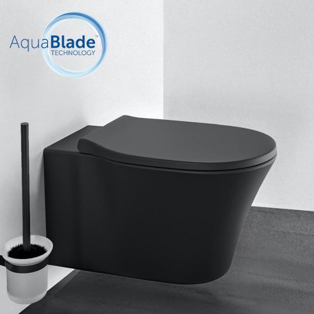 Ideal Standard Connect Air WC-Paket, Wand-Tiefspül-WC AquaBlade, mit WC-Sitz schwarz matt