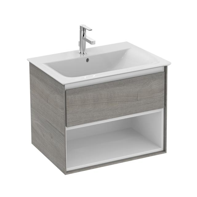 Ideal Standard Connect Air Waschtischunterschrank mit 1 Auszug und 1 offenen Fach eiche grau dekor/weiß matt