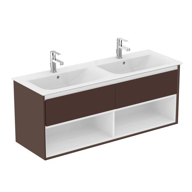 Ideal Standard Connect Air Waschtischunterschrank für Doppelwaschtisch mit 2 Auszügen und 2 offenen Fächern Front braun matt / Korpus braun matt/weiß matt