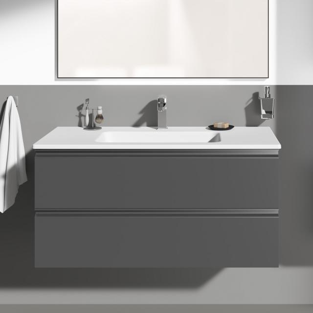 Ideal Standard Connect E Waschtisch mit Waschtischunterschrank mit 2 Auszügen Front anthrazit matt/Korpus anthrazit matt, Griff anthrazit