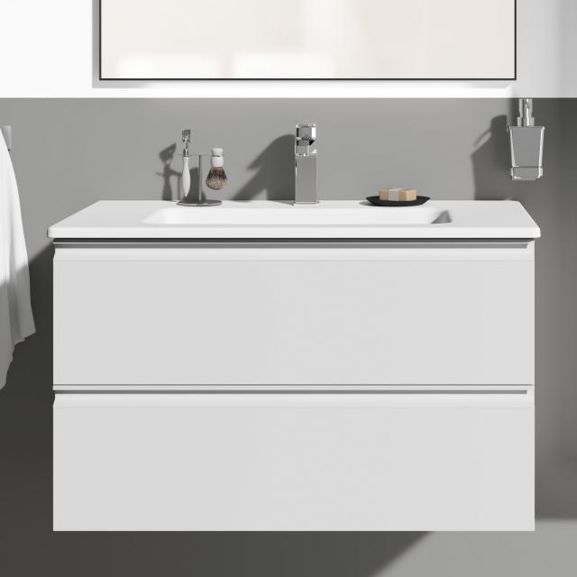 Ideal Standard Connect E Waschtisch mit Waschtischunterschrank mit 2 Auszügen Front weiß hochglanz/Korpus weiß hochglanz, Griff weiß
