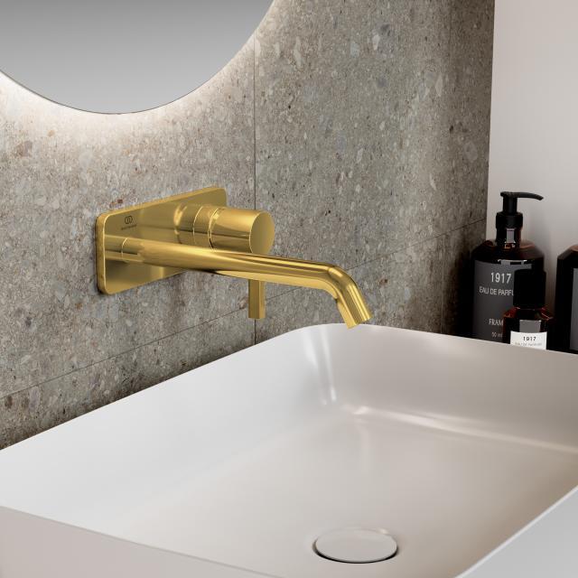 Ideal Standard Joy Wand-Waschtischarmatur Unterputz Bausatz 2 brushed gold, Ausladung 220 mm