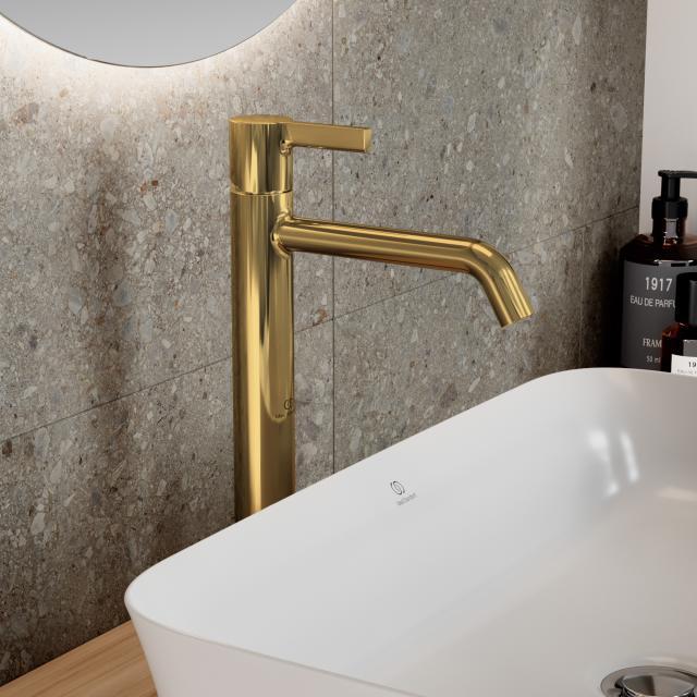 Ideal Standard Joy Waschtischarmatur mit verlängertem Sockel brushed gold, ohne Ablaufgarnitur