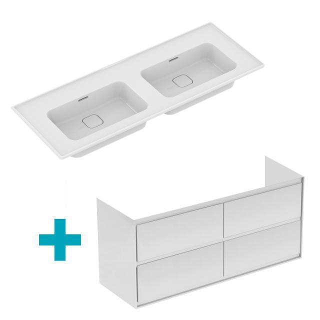 Ideal Standard Strada II Doppelwaschtisch mit Connect Air Waschtischunterschrank mit 4 Auszügen weiß, ohne Hahnloch