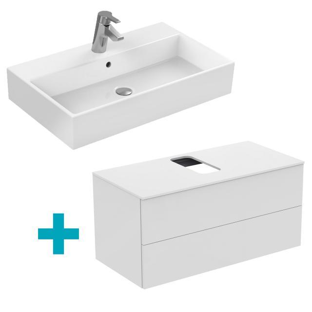 Ideal Standard Strada Waschtisch mit Adapto Waschtischunterschrank mit 2 Auszügen weiß, mit 1 Hahnloch