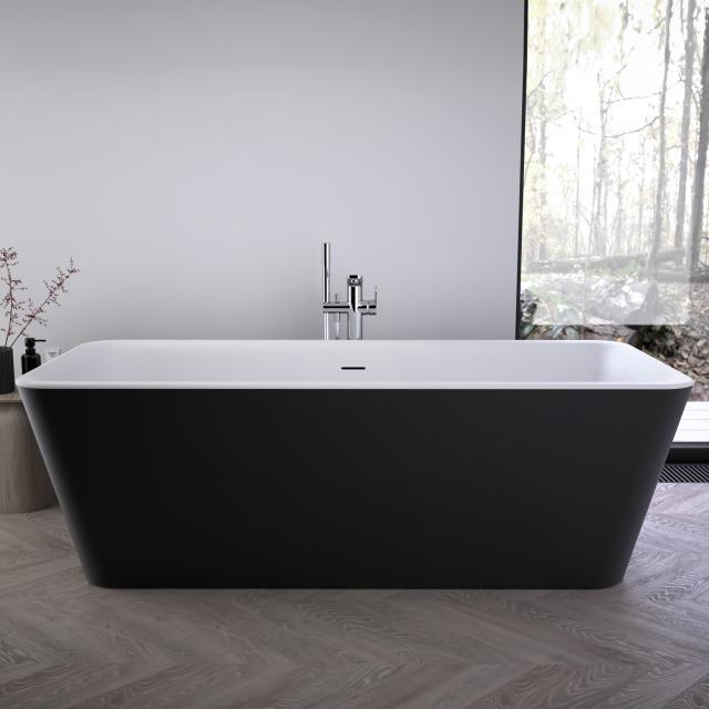 Ideal Standard Tonic II Freistehende Rechteck-Badewanne schwarz/weiß matt, ohne Füllfunktion