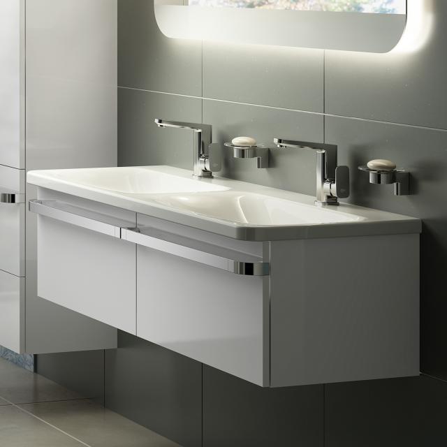 Ideal Standard Tonic II Waschtischunterschrank für Doppelwaschtisch mit 2 Auszügen Front weiß hochglanz/ Korpus weiß hochglanz