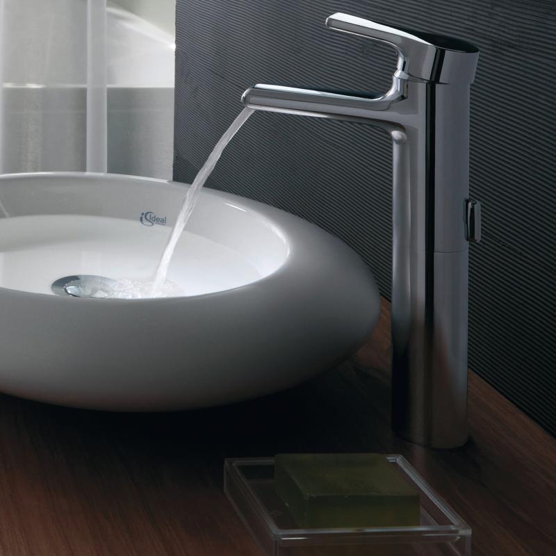 ideal standard attitude einhebel waschtischarmatur wasserfall mit verl ngertem sockel ohne. Black Bedroom Furniture Sets. Home Design Ideas