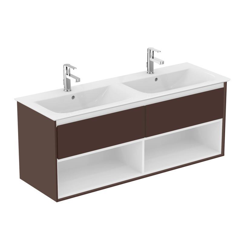 ideal standard connect air doppelwaschtisch unterschrank mit 2 ausz gen und 2 offenen f chern. Black Bedroom Furniture Sets. Home Design Ideas