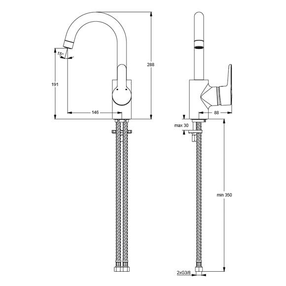 Interessant Ideal Standard Connect Blue Einhebel-Waschtischarmatur mit hohem  UU03