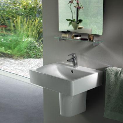 ideal standard connect cube waschtisch wei mit 1 hahnloch und berlauf e713901 reuter. Black Bedroom Furniture Sets. Home Design Ideas