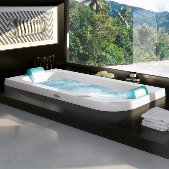 Jacuzzi AQUASOUL DOUBLE Eckeinbau-Whirlpool ohne Verkleidung, Eckeinbau links weiß, ohne integrierten Wassereinlauf, mit Rainbow