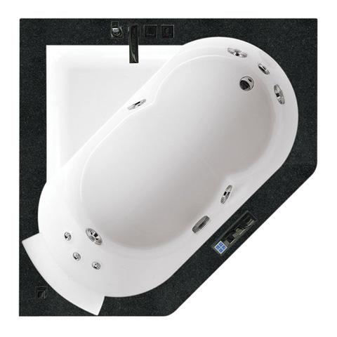 Jacuzzi AURA CORNER 140 WOOD Einbau-Whirlpool ohne Verkleidung, mit Holzumrandung ohne integrierte Wannenfüllarmatur