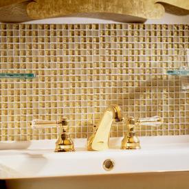 Jörger Delphi Deco Waschtisch 3-Loch Batterie mit Ablaufgarnitur, gold