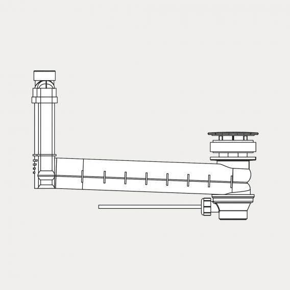 Kaldewei Clou Ab-und Überlaufgarnitur für Excenterbetätigung, eckig weiß