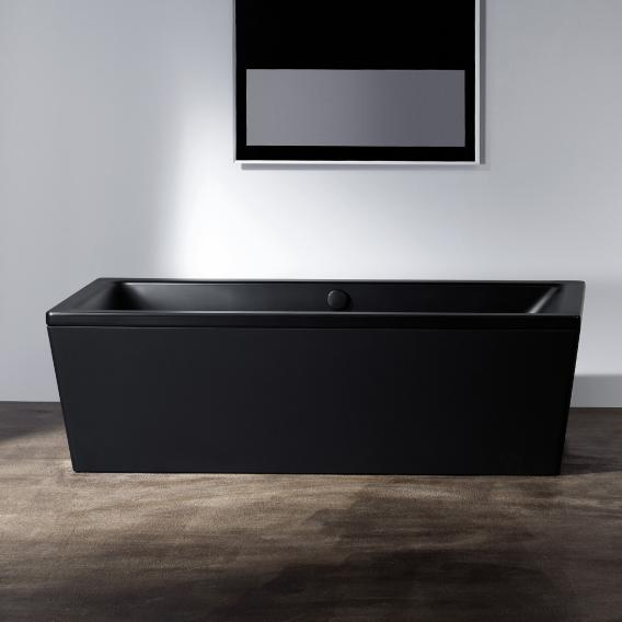 Kaldewei Conoduo Freistehende Rechteck-Badewanne schwarz, Schürze schwarz