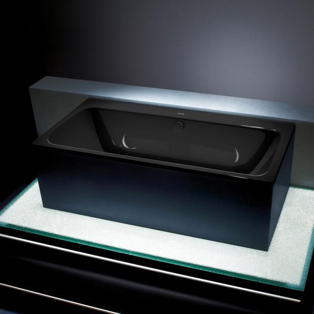 Kaldewei Asymmetric Duo Rechteck-Badewanne, Einbau schwarz mit Perl-Effekt