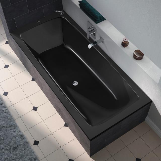 Kaldewei Cayono Duo Rechteck-Badewanne, Einbau schwarz mit Perl-Effekt