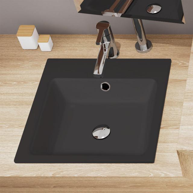 Kaldewei Cono Doppel-Einbauwaschtisch schwarz matt, mit 2 Hahnlöchern