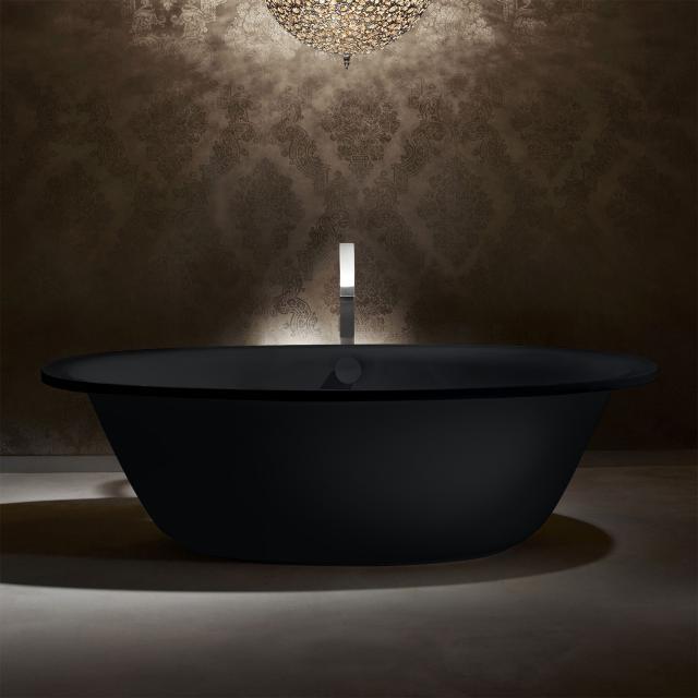 Kaldewei Ellipso Duo Oval Freistehende Oval-Badewanne schwarz matt, Schürze schwarz matt