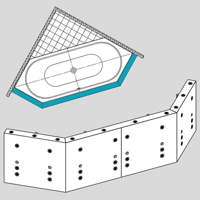 Kaldewei Multiverso Komplettsets für sechseckige Whirlwanne Mod. 660, Twin Pool