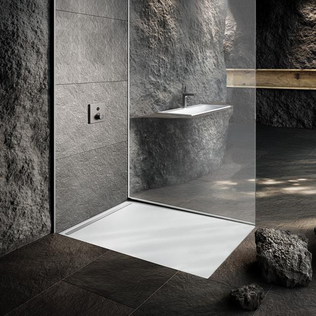Kaldewei Nexsys Bodenebene Duschfläche Komplett-Set weiß, mit Perl-Effekt, mit ultraflachem Ablauf
