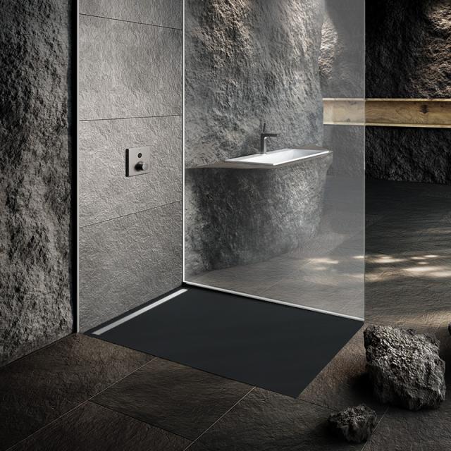 Kaldewei Nexsys Bodenebene Duschfläche Komplett-Set warm grey 85, mit Secure Plus, mit normalem Ablauf